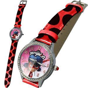 Ladybug-Miraculous-Kinder-Armband-Uhr-Analog-Zeiger-Kinderuhr-Armbanduhr-Rund