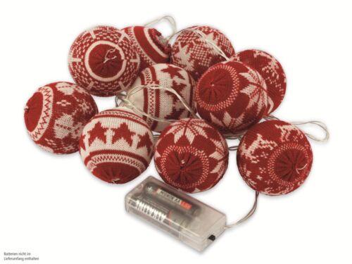 LED-Lichterkette Nordic Balls 10 Kugeln Batteriebetrieb rot warmweiß