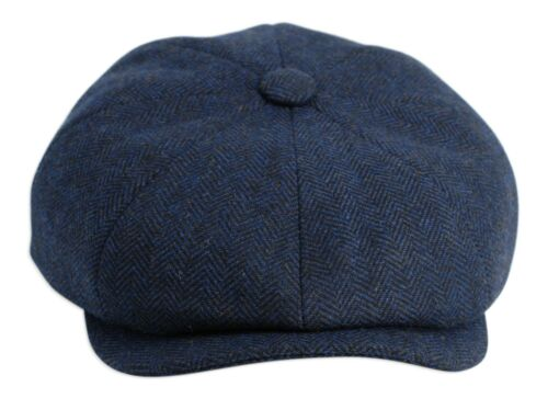 71fde00058e79 amp  Newsboy Cap Wool Flat Top Gamble Gunn  shelby  Navy By Button  Herringbone wqtgWvOC