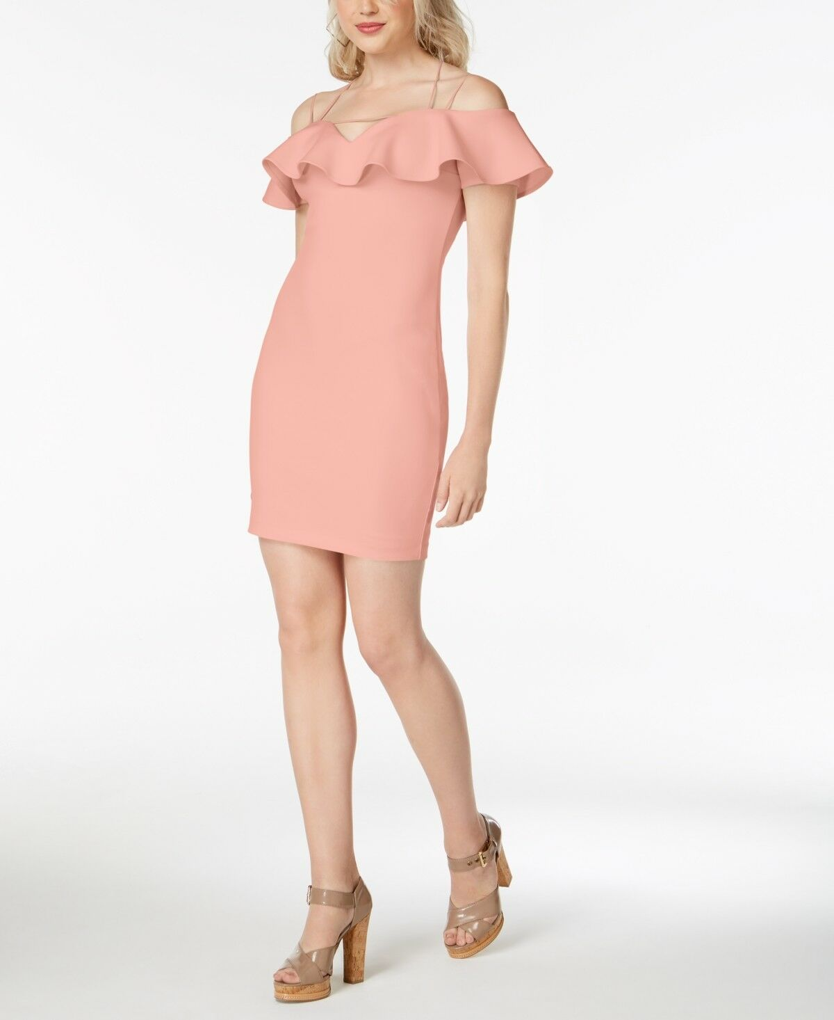 NWT  GUESS WOMEN'S PINK RUFFLED OFF-THE-SHOULDER BODYCON PARTY DRESS SIZE S