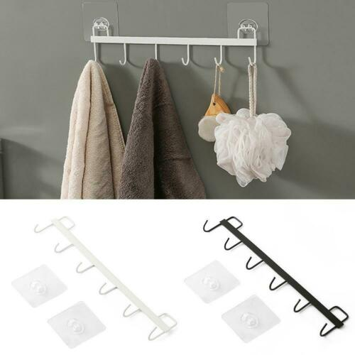 Kitchen Rail With 6 HooksNO DRILLING Wall Mounted Utensil Rack Hanging