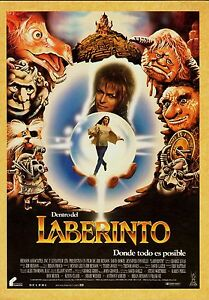 "(1986) LABYRINTH MOVIE Silk Fabric POSTER 24"" x 36"" JIM ... Labyrinth 1986 Poster"