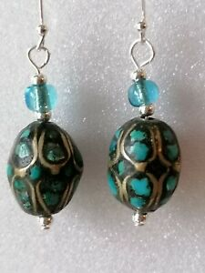 Antique-Art-Deco-TURQUOISE-Mosaic-Bead-Dangle-Drop-925-Sterling-Silver-Earrings