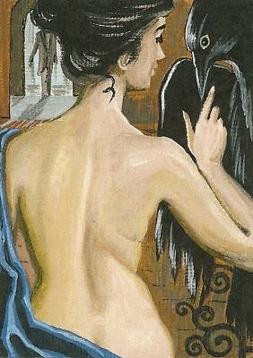 ACEO RYTA PRINT OF PAINTING REDHEAD NUDE PORTRAIT CROW RAVEN GOTHIC ART LOWBROW