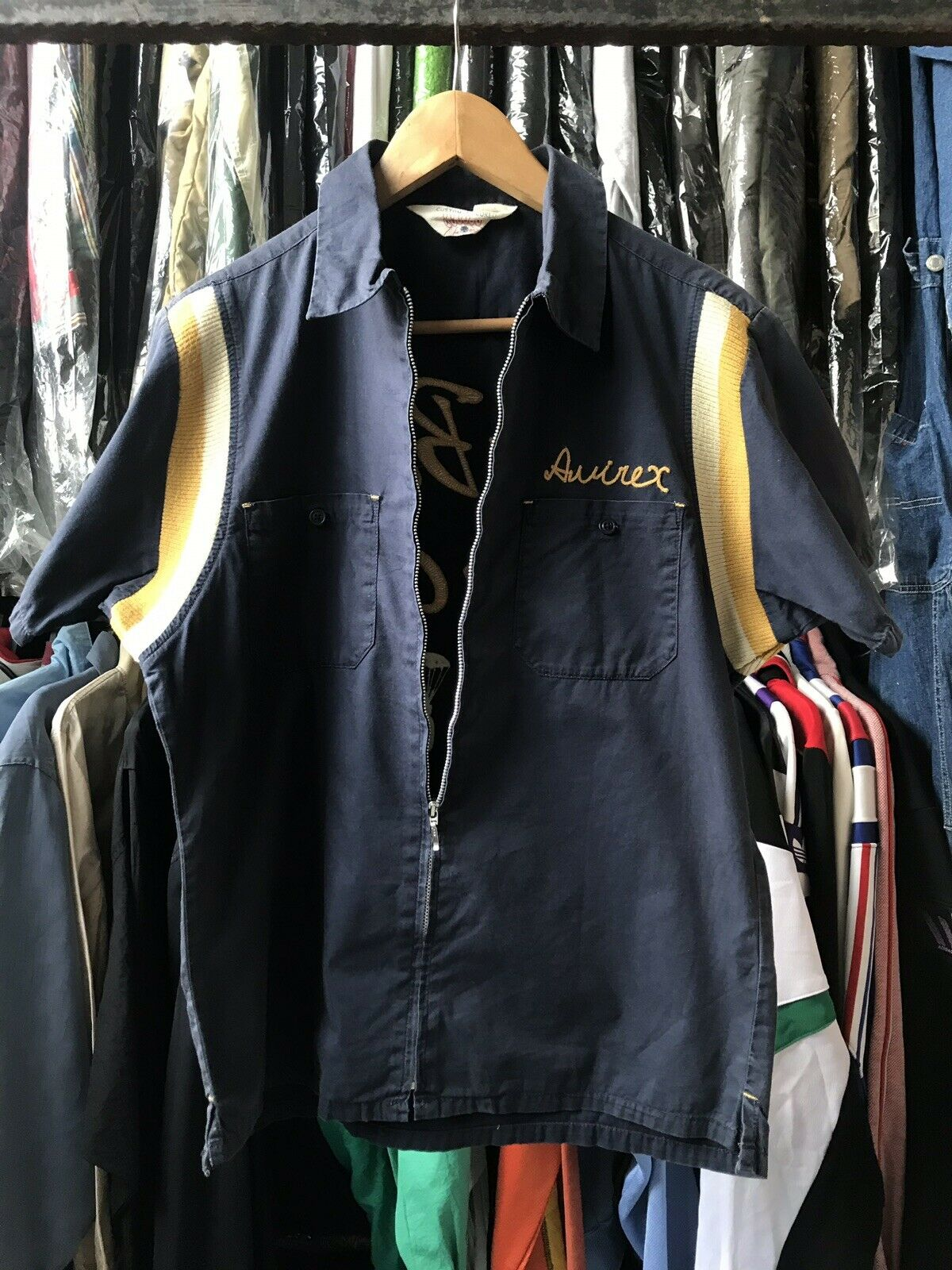 VINTAGE AVIREX EMBROIDERED LOGO BOWLING SHIRT WWII Air Borne Troop Carrier