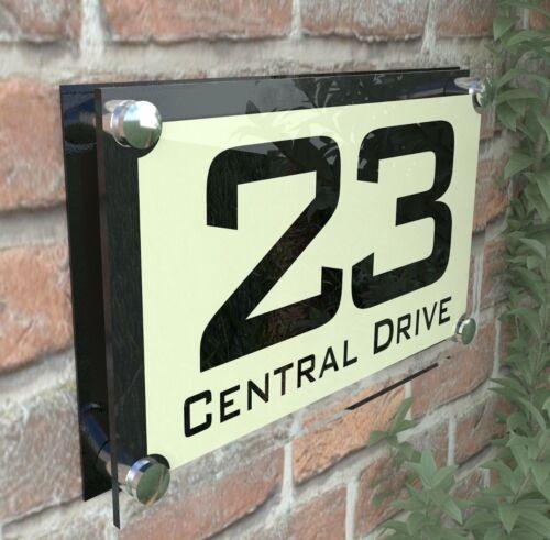 MODERN HOUSE SIGN DOOR NUMBER PLAQUE STREET GLASS EFFECT ACRYLIC ParA4-10BVP