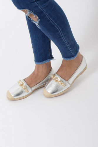 Womens Silver Espadrilles Ladies Flat Comfortable Studded Shoes