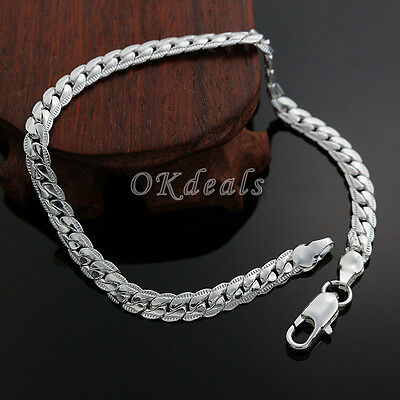Fashion Jewelry Cute 5MM Women Silver Plated Silver Plated Chain Bracelet Men