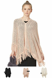 ScarvesMe-Women-039-s-Casual-Cozy-Lace-Fringe-Knit-Poncho-Cover-Up-Shawl-Cardigan