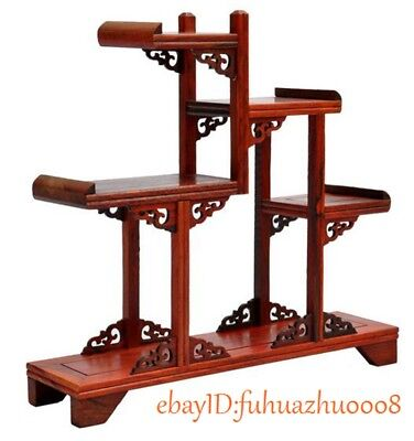 Nice Chinese suanzhi wood carved put small curio stand//shelf or Anique display