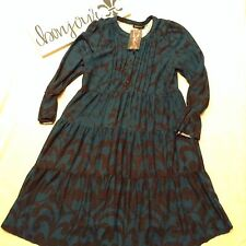 Reborn Women's Dress Peasant Boho Emerald Tunic Baby doll NEW Size L BB100