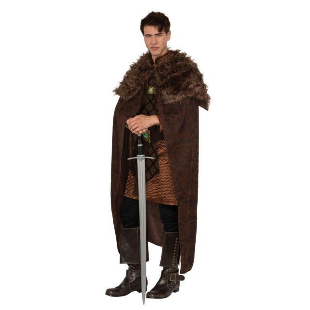 Renaissance Brown King Cape Medieval Viking Adult Halloween Costume Faux Fur