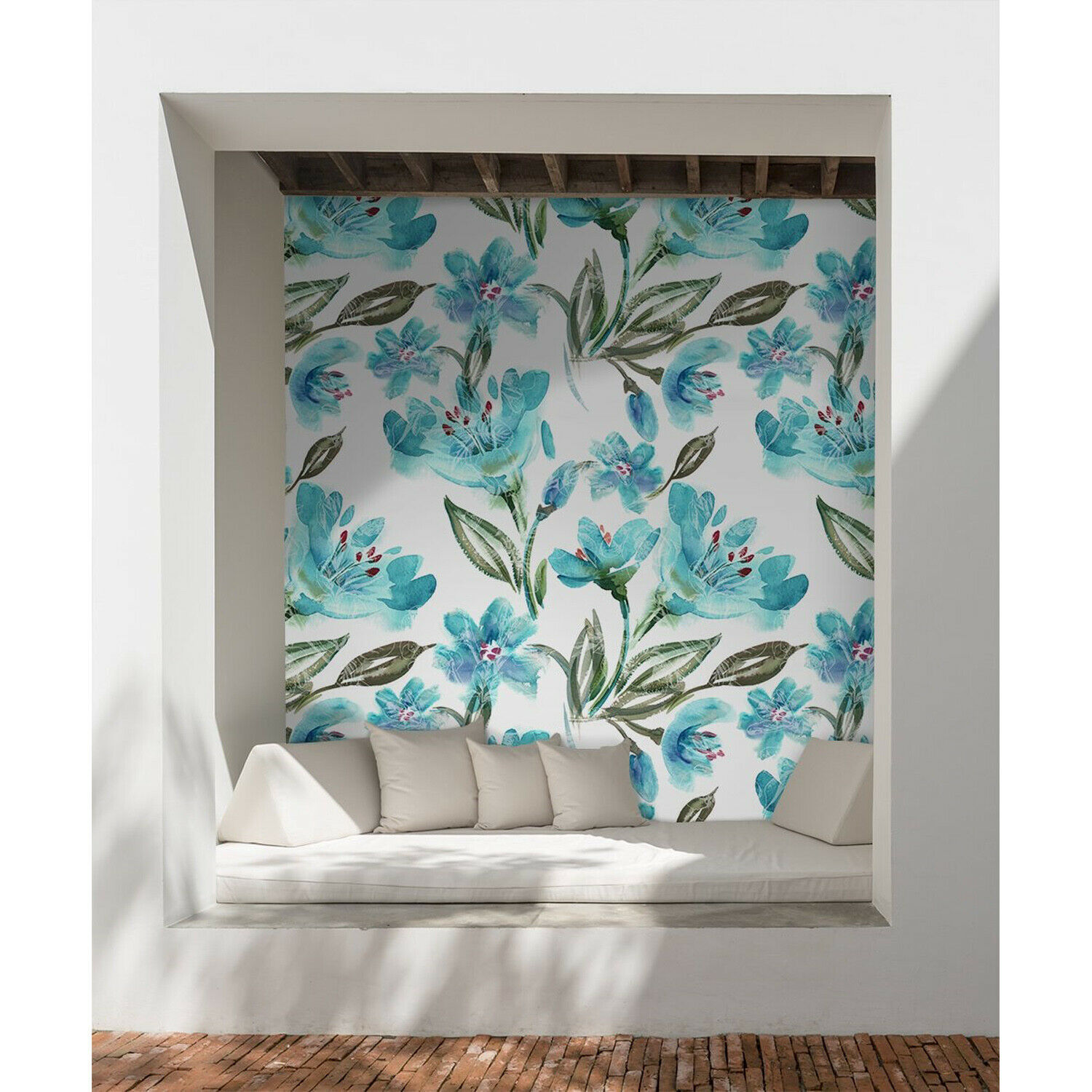 Turquoise flowers Removable wallpaper Blau and Grün wall mural temporary