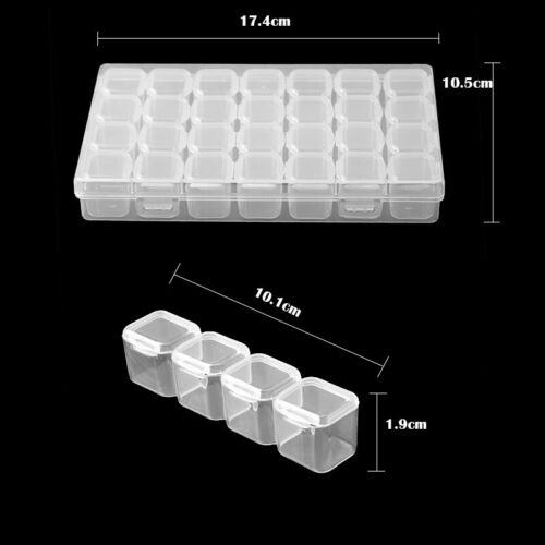 Clear Jewelry Box 28 Slots Plastic Bead Storage Container Earrings Organizer