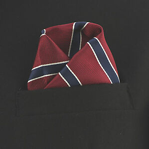 Mens Red Black /& White Striped Pocket Square Handkerchief hanky
