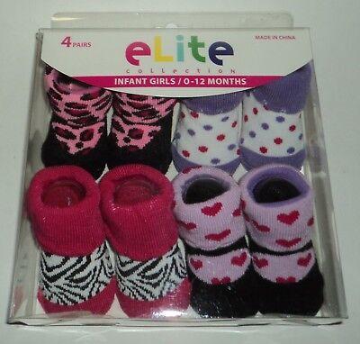 6 PAIR Dora The Explorer Infant Baby Girl Booties Socks 6-12 Months Assorted NEW
