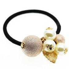 Champagne White Balls Leaf Girl Charms Elastic Hair Band Wrap Accessories HA254
