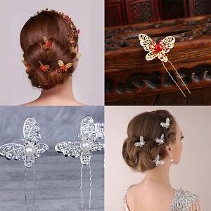 Bride Butterfly Hair Pin Wedding Dress Costume  Headdress Shaped Hairpin 3 Pcs