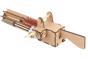 "youngmodeler Wooden model kit Rubber band gun /""Gatling 56 shots/"""