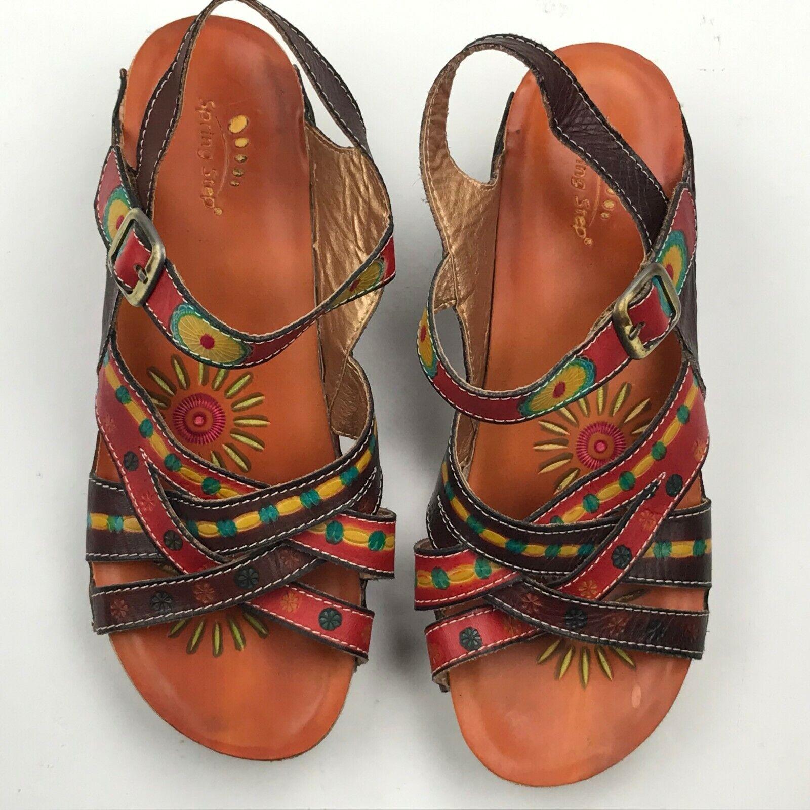 Spring Step D-UNION Multi-color Leather Strappy Sandal sz EU 37
