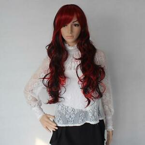 Fashion-WAVE-80cm-Long-Cosplay-Party-Wig-Women-Dark-Red-Black-Mix-Wigs-Hair-KI