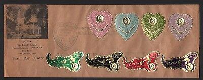 """Tonga Ersttagsbrief """" Vergoldete Folien """" 136-139 1964 C7-c10"""