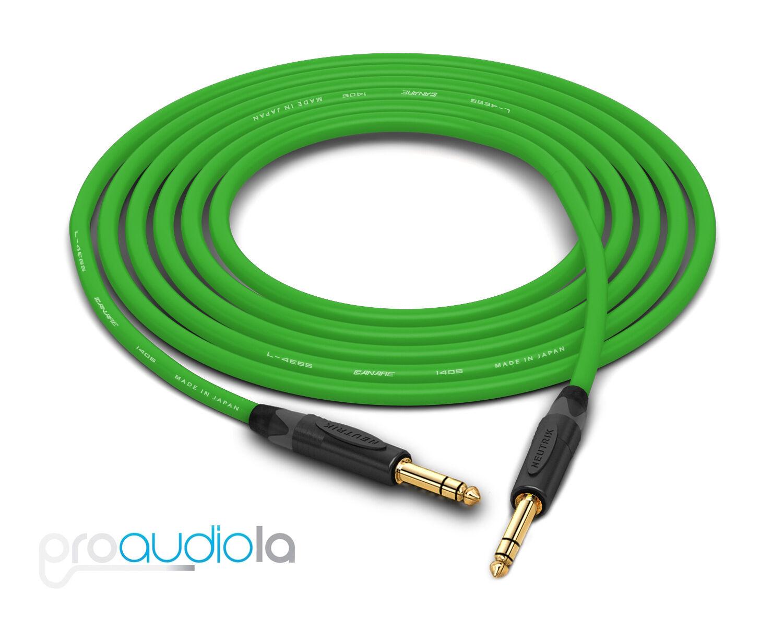 Canare Quad L-4E6S Cable Neutrik Gold 1 4  TRS Grün 50 Feet 50 Ft. 50'
