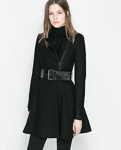 Size M L - ZARA PEPLUM COAT BLACK WOOL LONG BIKER ZIP FRILL BELT