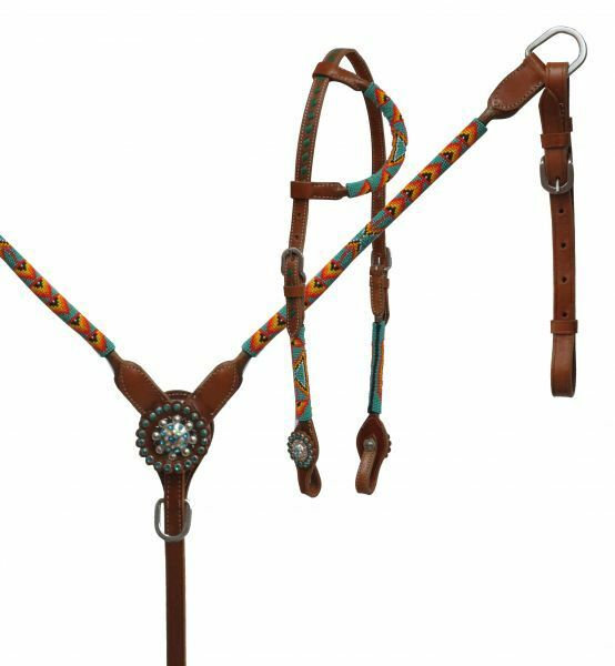 Showman Round Beaded Overlay  Medium Oil Leather Bridle Breast Collar & Reins Set  exclusive designs