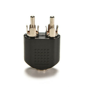 Silver-Plated-3-5Mm-Female-Stereo-To-2-Rca-Male-Audio-Jack-Connector-Adapter-SL
