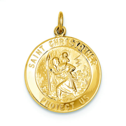 .925 Sterling Silver and 24K Gold-Plated St Christopher Medal Charm Pendant