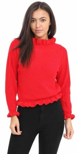 Ladies Long Sleeve High Neck Knitted Ruffle Frill Hem Sweaters Crop Jumper 8-14