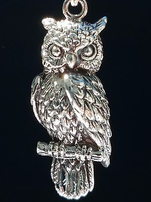 Wise Owl Fine Feathered Pendant 925 Sterling Silver Corona Sun Jewelry