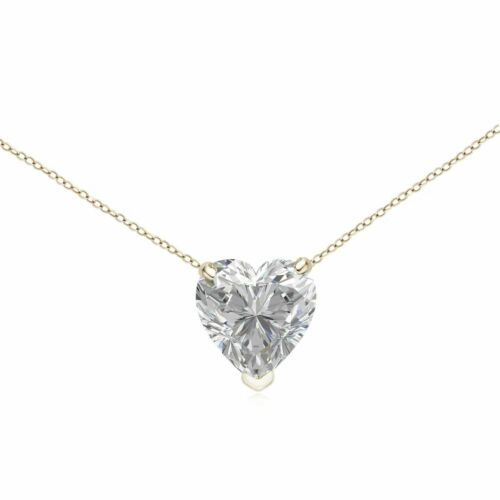 """1.00 ct Heart Solitaire 14k Yellow Gold Over Diamond Pendant With 18/"""" Chain"""