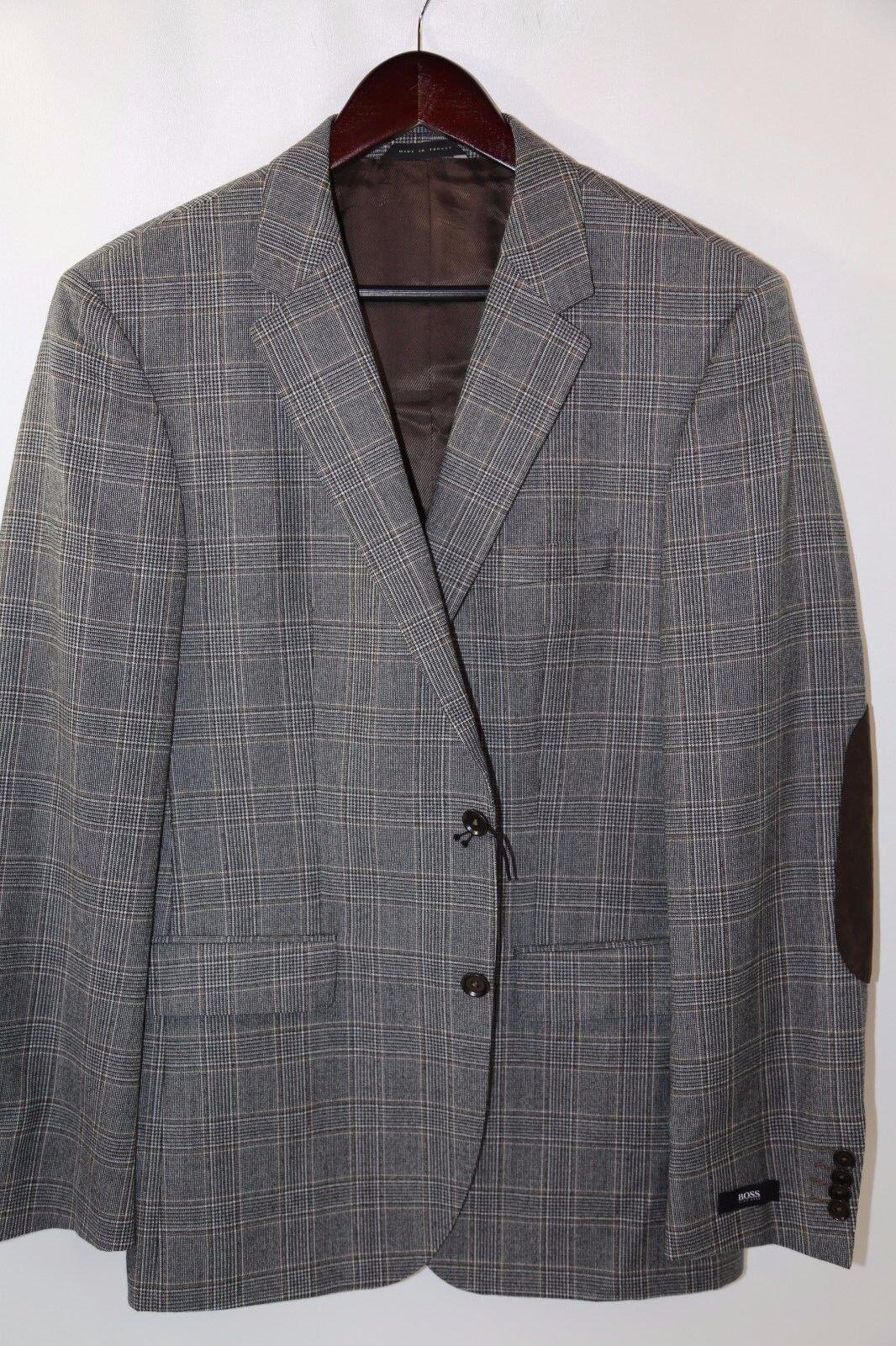 Hugo Boss Elbow Patch 'The Smith11' Trim Fit Plaid Blazer Size 40 R