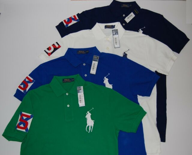 Men's Sleeve Pony5 Mesh Big Patch Polo Nwt Shirt On Lauren Rugby Ralph T3JclFK1