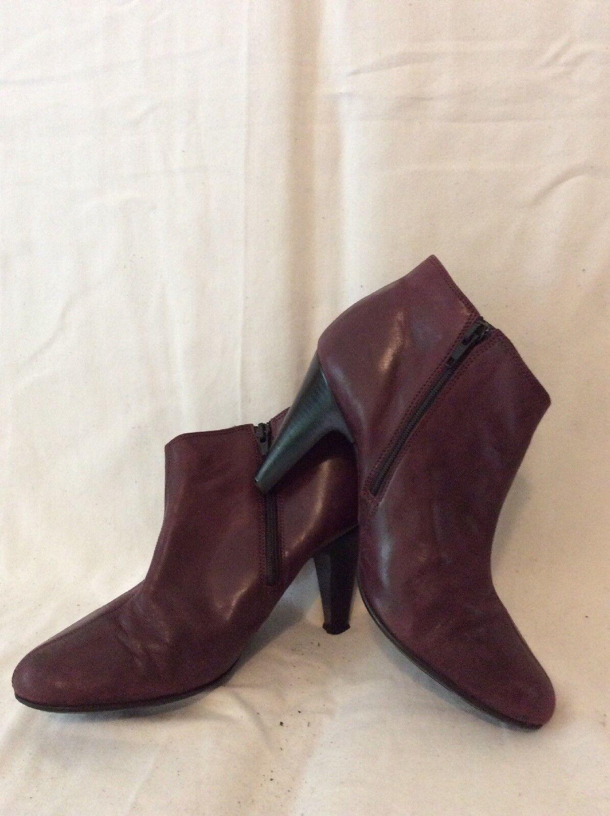 Jones Bootmaker Burgundy Ankle Leather Boots Size 38
