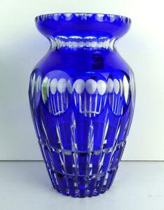 Uberfangglas-Vase-Kobaltblau-Boehmen-geschliffen