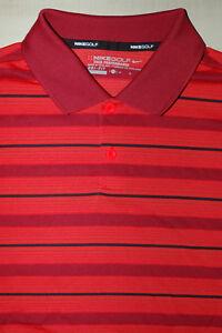 b57494411 Nike Dri Fit Golf Tour Performance S S Polo Shirt Red Striped Men s ...
