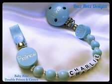 ♕ PERSONALISED Your Name Choice ♕ DOUBLE PRINCE ♕ Dummy Clip ♕ BABY BLUE ♕