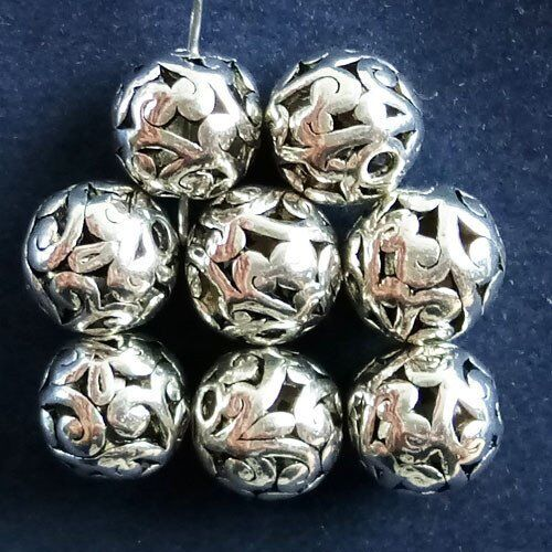 30Pcs Carved Tibet Silver Hollow Out Balle Pendentif Perles 10 mm JC457
