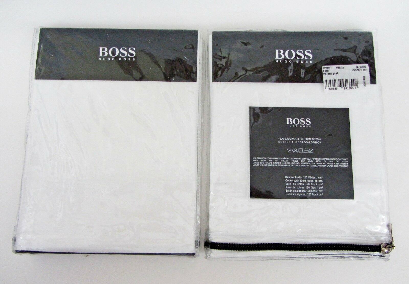 2 x Hugo Boss Spirit bianca KING Shams 21  x 37  (54cm x 94cm) France NEW