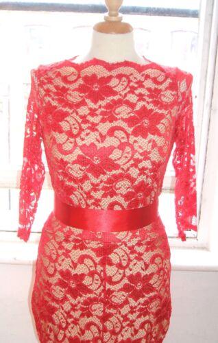 Baylis Knight Red Slash Neck Lace FISHTAIL Long Maxi Wiggle PENCIL Gown Dress