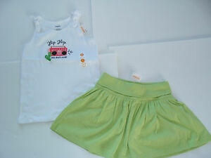 Gymboree-Palm-Beach-Paradise-Girls-Size-6-Knit-Skirt-amp-7-Flip-Flop-Shirt-Top-NEW