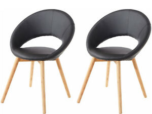 Dettagli su 2x Sedia Sala da Pranzo Cucina Sedia Lounge pelle Sintetica  Retrò Scandinava