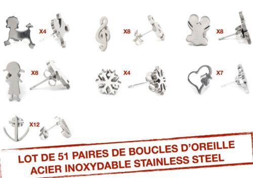 Bo.41/_/_ Lot 51 Paires Boucle D'oreille Neuve en acier inoxydable Idéal Revendeur