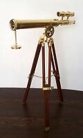 NAUTICAL MARINE Brass Replica Design Telescope with Wood Tripod Floor Stand