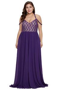 Details about 5X Women Elegant Prom Purple Floral Lace Bodice Plus Size  Evening Maxi Dress