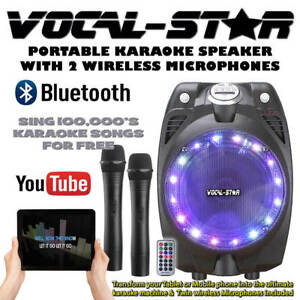 Vocal-Star-Portable-Black-Karaoke-Machine-Speaker-2-Wireless-Mics-Bluetooth-60w