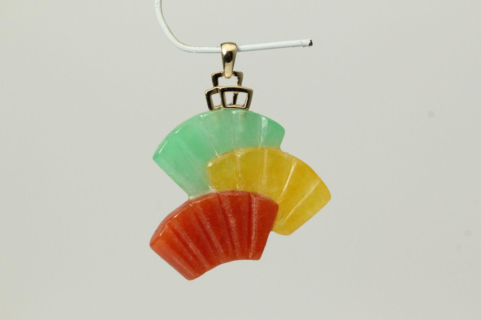14K Yellow gold Fancy Bail on Tri-color Jade Fan Pendant  3.1grams  (PEN5076)